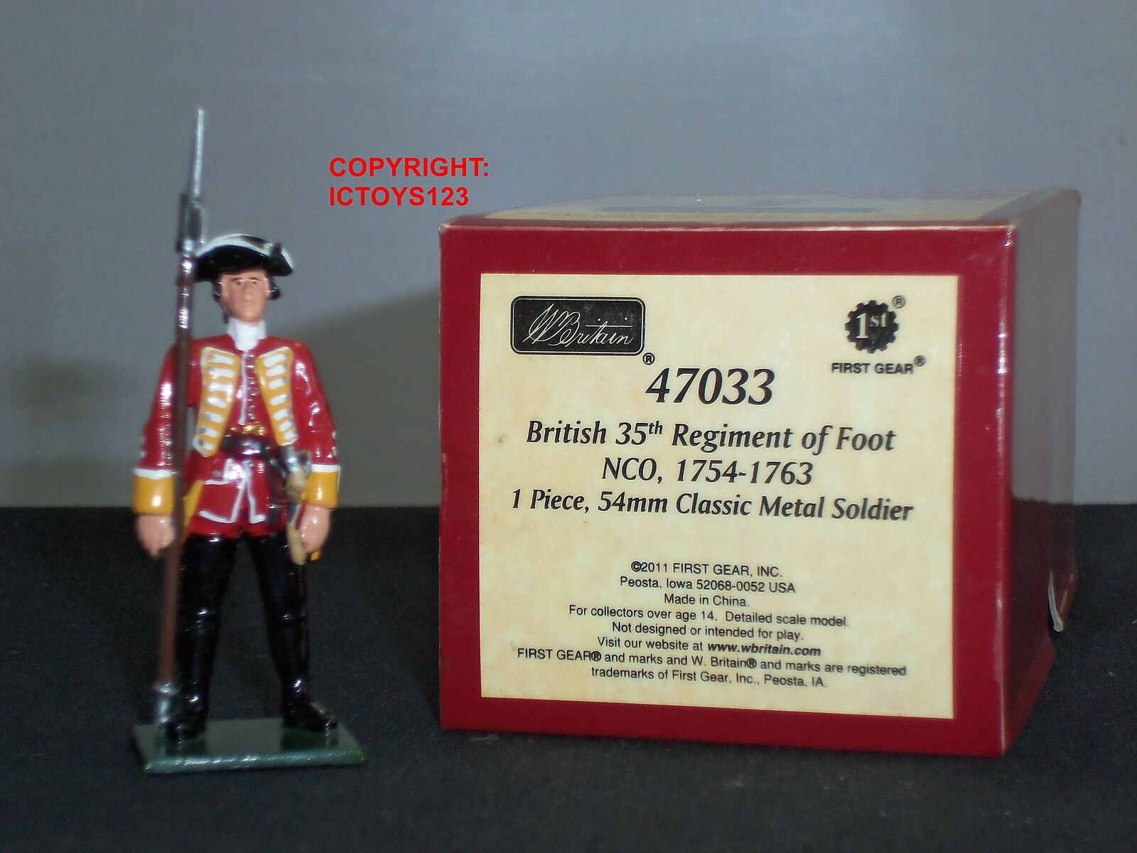 BRITAINS 47033 REDCOATS BRITISH 35TH REGIMENT OF FOOT NCO METAL TOY SOLDIER