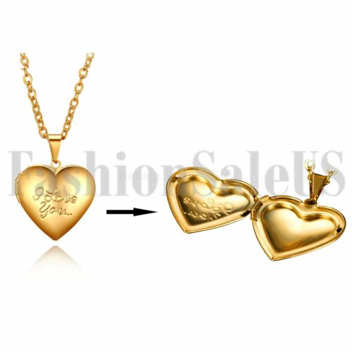 """Stainless Steel /""""I Love You/""""Heart Locket Photo Pendant Mom Lovers Necklace Gift"""