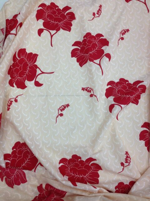 """Sheeting Fabric Floral Beige / Red 100% Cotton 94"""" 240 Cm"""