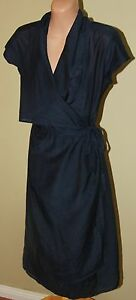 Womens-Blue-Wrap-Dress-Grace-Hill-Size-10