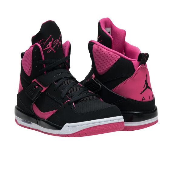 5e3a43c471 Junior Girls Womens Black Pink Nike Jordan Flight 45 High IP GG ...