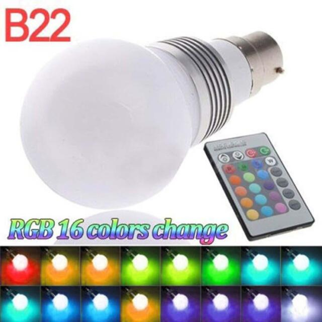 B22 RGB 3W Colour Changing Dimmable LED Bulb Light Lamp  + Remote Controller ё7