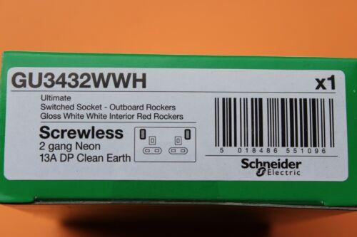 SCHNEIDER Blanc Screwless DP 2 G Double Socket 13 A Rouge Néon Commutateurs Clean Terre