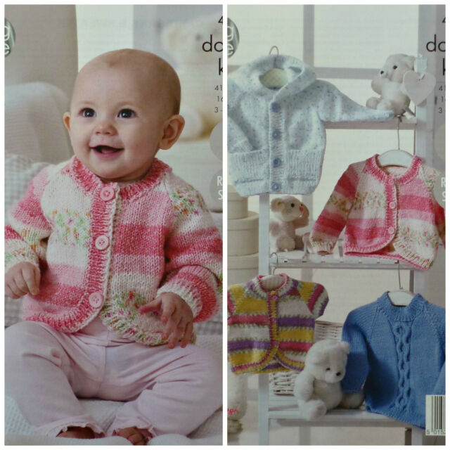3adeaeec181a King Cole Baby Double Knitting Pattern Easy Knit Hoody Cardigans ...