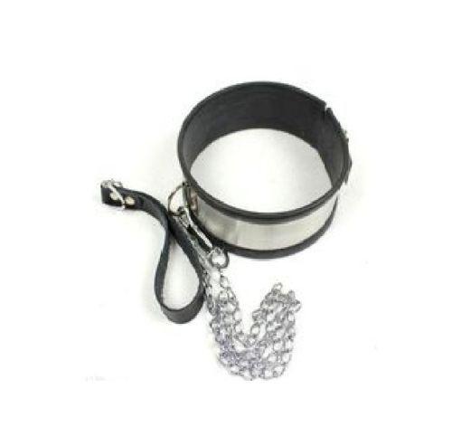 Stainless Steel Neck Collar Adjustable LARGE BLACK OR PINK Unisex Adjustable UK