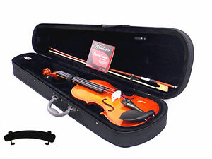 New-4-4-Student-Solid-Wood-Violin-Bow-Rosin-Case-Extra-String-Set-Shoulder-Rest