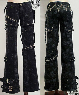 New sexy visual kei PUNK gothic rock removalbe pants Size S to XXL