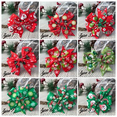 Christmas Pretty Bow Headband Red Ribbon Elastic Hairband Baby Girl