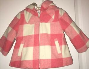 8f9ed412cc9 Joe Fresh Baby Girl Toddler Wool Lined Pink Check Plaid Coat Jacket ...