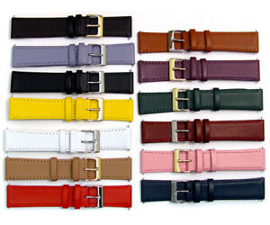 Smooth-Stitched-Leather-Watch-Strap-C088-Lots-of-Colours-amp-Sizes-15mm-22mm