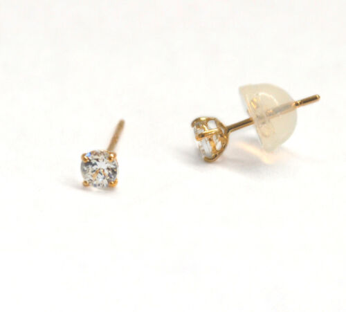 4mm New Stud Earrings in Solid 14k Real Yellow Gold /& Round Cubic Zirconia CZ