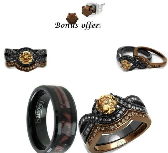 Endless love Camo wedding bands rings collection on eBay