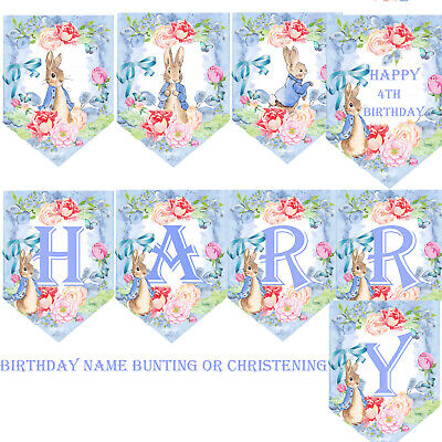 Personalised Bunting Fairies Birthday 1st 3rd 5th Christening Baby Shower Party