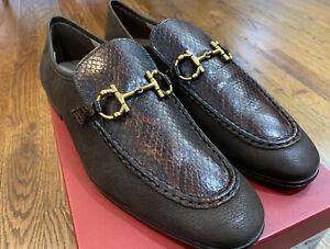 Salvatore Ferragamo Anderson Python Reptile Brown Leather Loafer 8.5EE $995 RARE