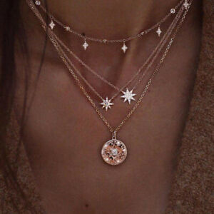 Boho-Multilayer-Crystal-Clavicle-Chain-Necklace-Choker-Pendant-Women-Jewelry