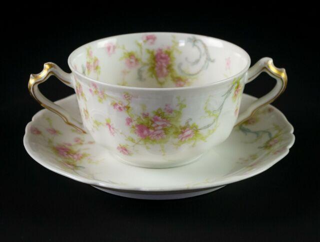 Haviland Limoges Princess Bouillon Cup & Saucer Set, Antique France Schleiger 57
