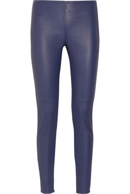 VICTORIA BECKHAM COLLECTION Blue Leather Stretch Skinny Pants Trousers Leggings
