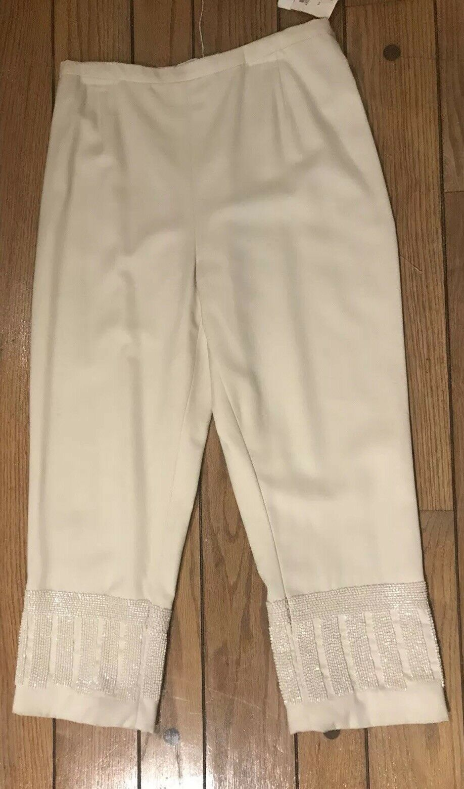 1,780 AREND Luxury Women Crop Capri Sequin Pants 100% Wool Cream Off White NWT