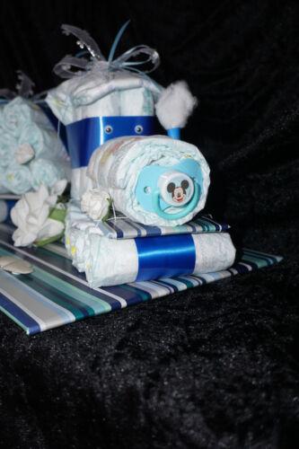 Windeltorte Windellok Lok Zug mit Hänger Torte Baby Geschenk Geburt Taufe Junge