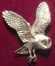 Superb Pewter Flying Owl Brooch Pin : Craftsman Signed