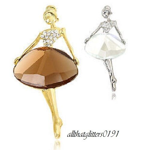 Beautiful Dancing Girl Brooch Scarf Pin Glass /& Crystal Stones Gold Plated