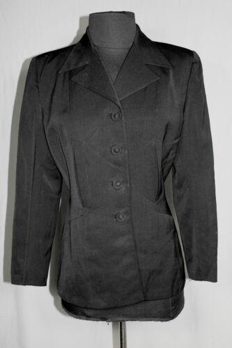 CLASSIC VINTAGE 1940'S BLACK WOOL GABARDINE FITTED