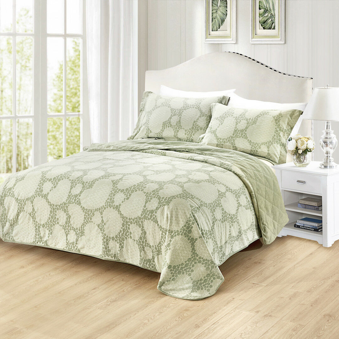 JACQUARD QUILTED QUEEN COMFORTER WITH 2 PILLOW CASE SHAM SET MINT Grün 3 PIECE