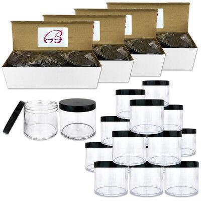 12pc 10oz//300g//300ml High Quality Acrylic Leak Proof Container Jars w//Black Lids
