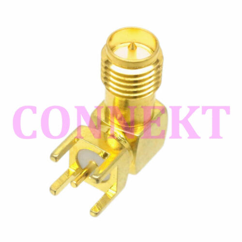 1pce RP-SMA female plug center right angle solder PCB mount RF connector