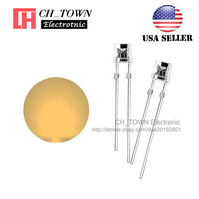 100PCS 3mm Flat Top Warm White Light LED Diodes Wide Angle Water Clear