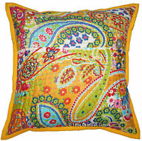 """16"""" Yellow Paisley Pillow Cushion Cover Cotton Kantha Embroidered Throw INDIAN"""
