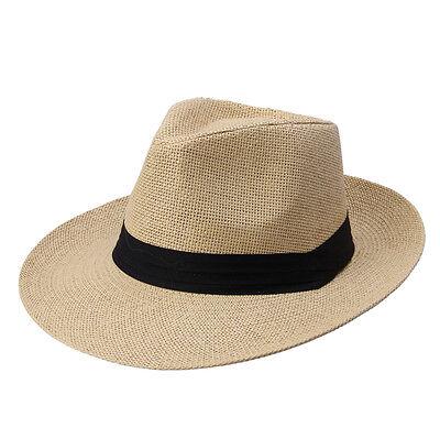 Beige Men Wide Brim Jazz Hat Cap Travel Beach Straw Panama Cowboy Sunhat Topee