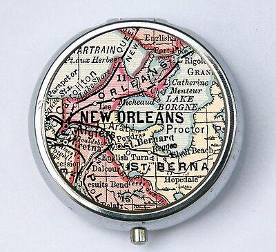 New Orleans PILL case pill box pillbox holder Vintage Map city Louisiana