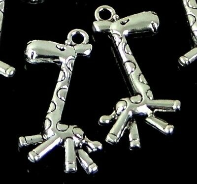 10 Dog Bone Antique Silver Pewter Pussy Pendant Charms 17x11mm