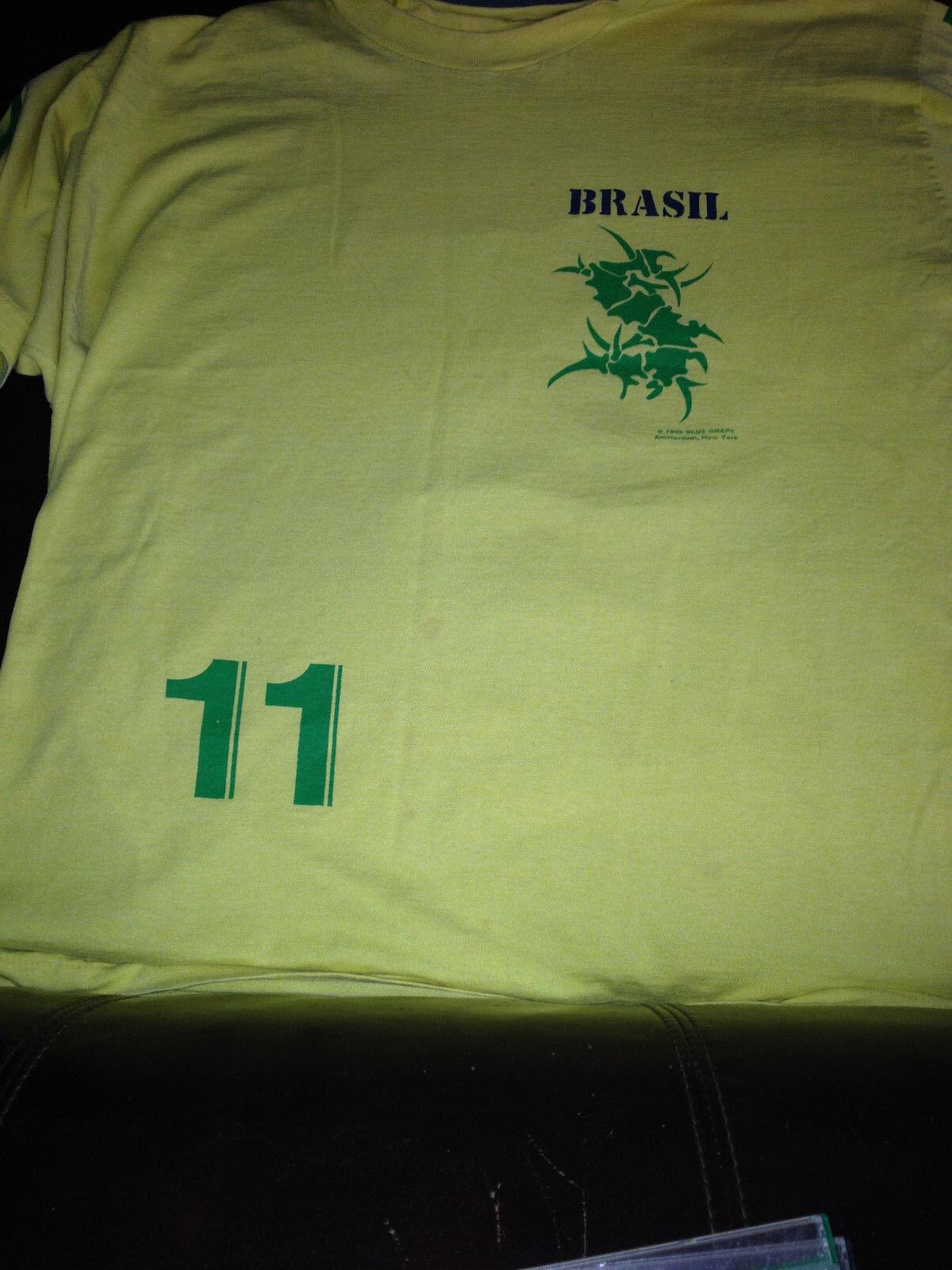 SEPULTURA tour shirt ROOTS 1996 BRASIL 11 yellow soccer jersey tee blueE GRAPE