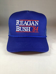 5fd464f182e5e Reagan Bush 84 Hat Trucker Style Blue Cap Embroidery Meshback ...