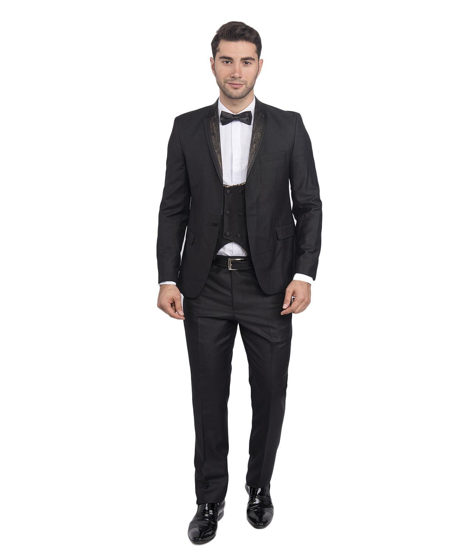 Slim Fit Herren Smoking in Schwarz-Gold mit Weste -Anzug-Hochzeit-Bühne-Sakko