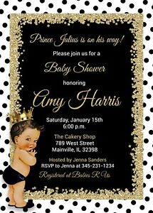 Image Is Loading Prince Baby Shower Invitation Black And Gold White