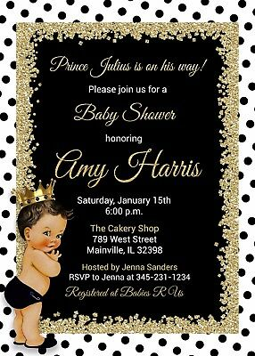 King Black and Gold Prince Baby Shower Invitation Royal White Baby Shower