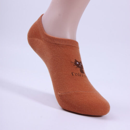 Girl Lady Casual Invisible Cotton Socks Low Cut Cat Printed Ankle Sock Free Size