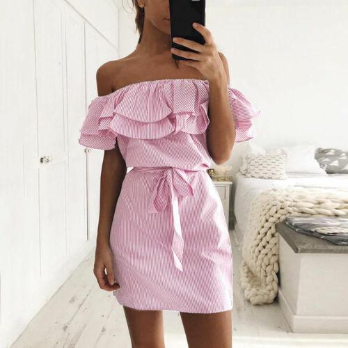MINI Kleid Minikleid Strand Rüschen Rosa Blau Sommerkleid Bandeau Volant BC370