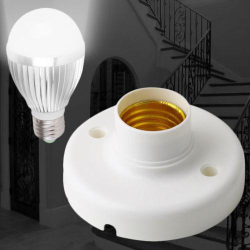 New E27 Screw Base Round Plastic Light Bulb Lamp Socket Holder Adapter 220V