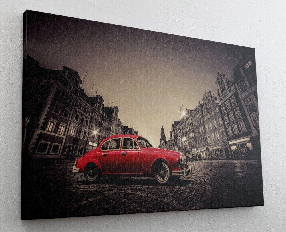 Fotografie Oldtimer Vintage Altstadt Leinwand Canvas Bild Wandbild Kunstdruck L2
