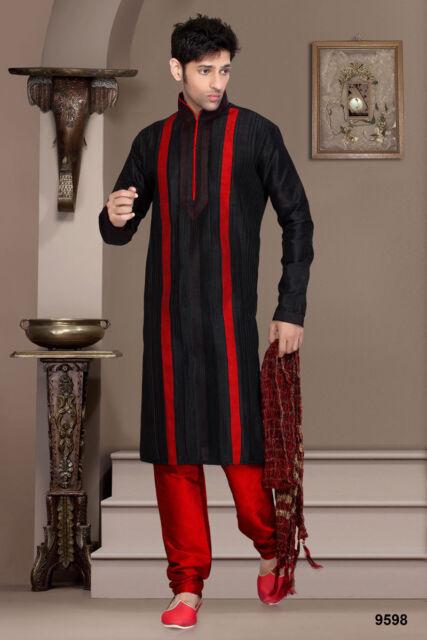 Indian Mens Wear Bollywood Pakistani Black Color Kurta Payjama Traditional Dress