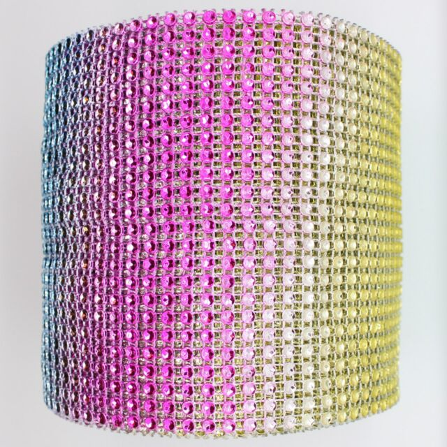 "4.75"" x 10 YARDS DIAMOND MESH WRAP ROLL CRYSTAL RHINESTONE SPARKLE BLING RIBBON"
