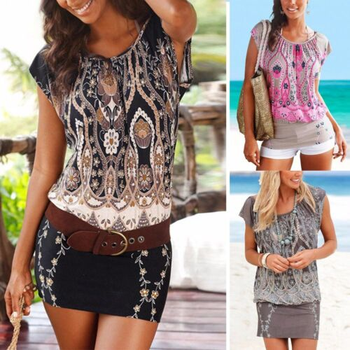 UK Women Short Sleeve Boho Floral Mini Dress Ladies Summer Sundress Holiday NUE