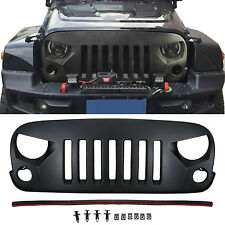 Black ABS Front Matte Grill Angry Bird Grille For Jeep Wrangler JK 2007-2017