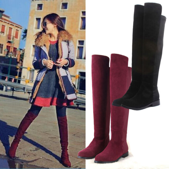 WOMENS LADIES FLAT HEEL OVER THE KNEE THIGH HIGH FAKE SUEDE LEATHER BOOTS SIZE