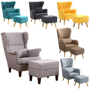 Fantastic Details About Bedroom Sofa Wing Back Fireside Fabric Lounge Armchair Tub Chair With Foot Stool Pabps2019 Chair Design Images Pabps2019Com