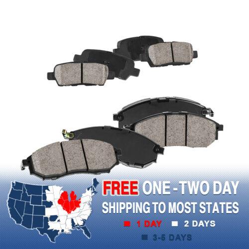 Front And Rear Ceramic Brake Pads with Rubber Shims For 350Z 370Z M35 M45 EX35